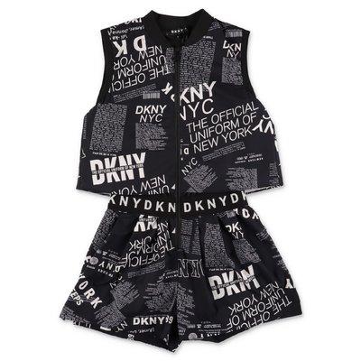 DKNY salopette nera stampata in techno tessuto