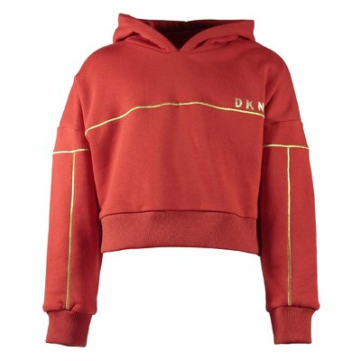 Red cotton blend sweatshirt hoodie