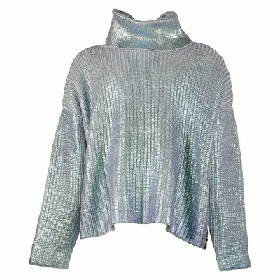 Pullover iridescente in maglia di misto cotone