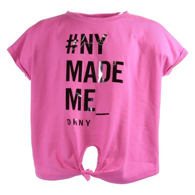 DKNY fuchsia logo cotton blend t-shirt