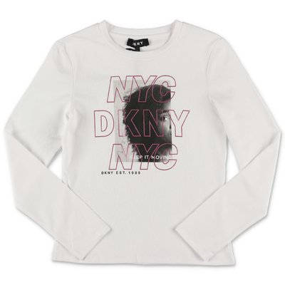 DKNY white cotton jersey t-shirt