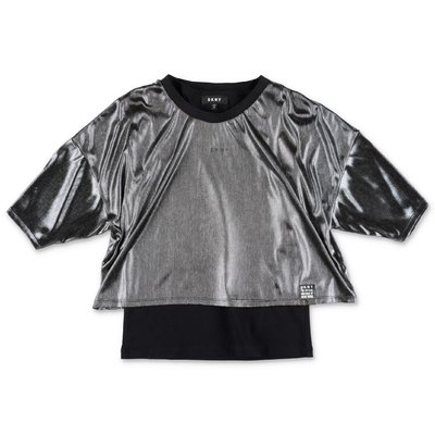 DKNY black jersey dress & silver techno fabric top set