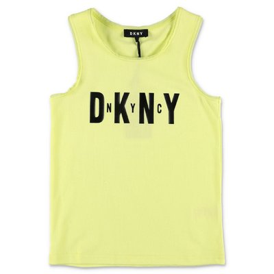 DKNY yellow cotton jersey top tank