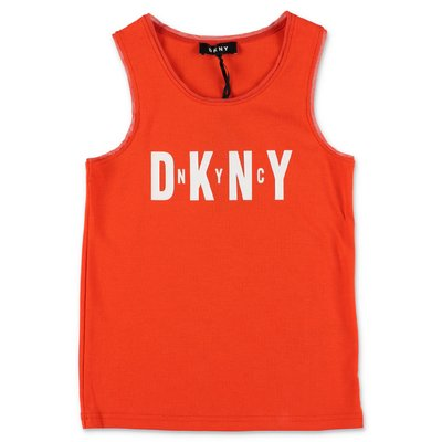 DKNY orange cotton jersey tank top