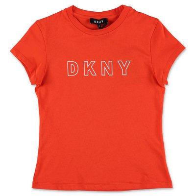 DKNY t-shirt arancio in jersey di cotone organico