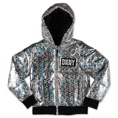 DKNY iridescent silver nylon hooded down jacket
