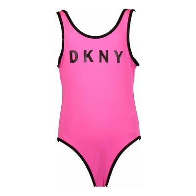 Fuchsia logo nylon swimsuit
