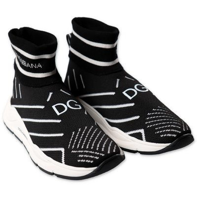 Dolce & Gabbana black knit slip on sneakers