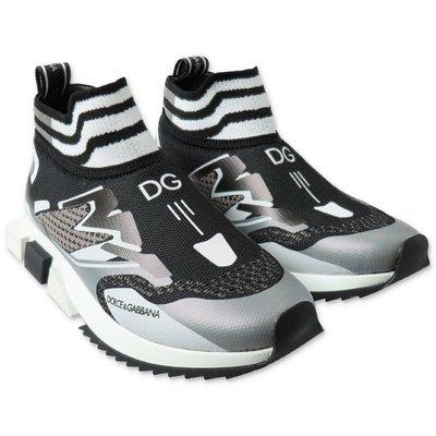 Dolce & Gabbana sneakers slip on nere in maglina stretch con dettagli a contrasto