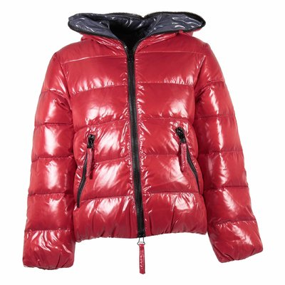 Red nylon down jacket