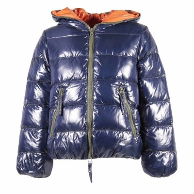Navy blue nylon hooded down jacket