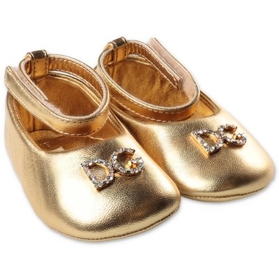 Dolce & Gabbana golden nappa leather ballerinas