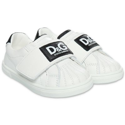 White leather Dolce & Gabbana sneakers with velcro
