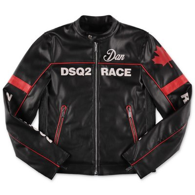 DSQUARED2 black faux leather race jacket