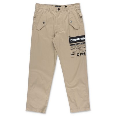 DSQUARED2 beige cotton gabardine pants