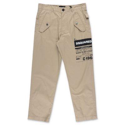 DSQUARED2 pantaloni beige in gabardina di cotone