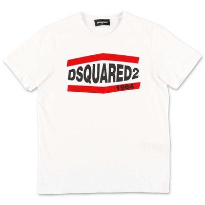 DSQUARED2 t-shirt bianca in jersey di cotone con logo
