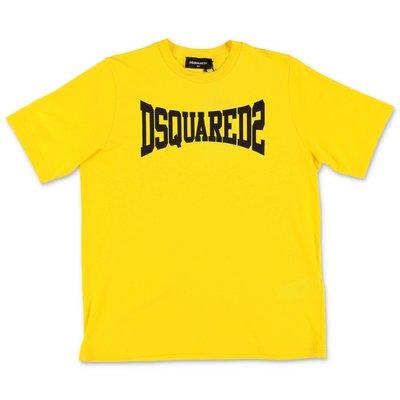 DSQUARED2 t-shirt gialla in jersey di cotone