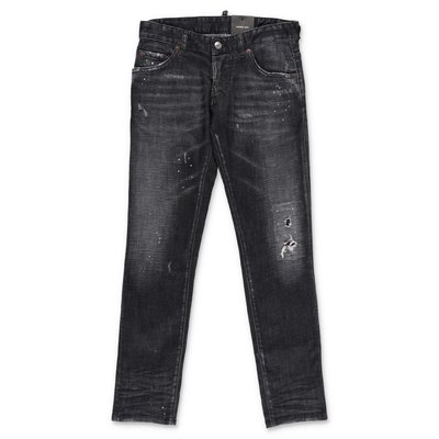 DSQUARED2 black stretch cotton denim vintage effect jeans