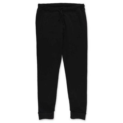 DSQUARED2 pantaloni neri in felpa di cotone