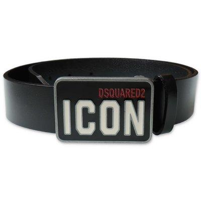 DSQUARED2 black logo detail leather belt