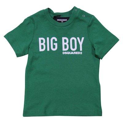 T-shirt verde in jersey di cotone
