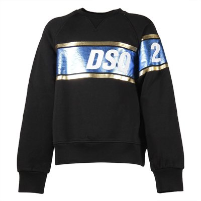 Black cotton sweatshirt with laminated effect stripe
