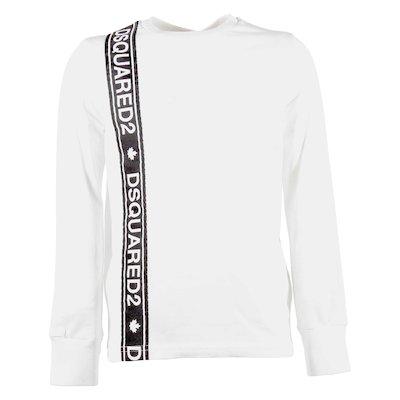 T-shirt bianca in jersey di cotone con banda logo