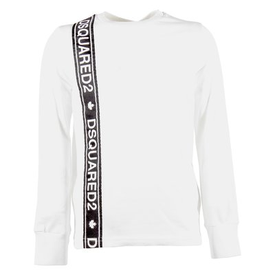 White logo band cotton jersey t-shirt