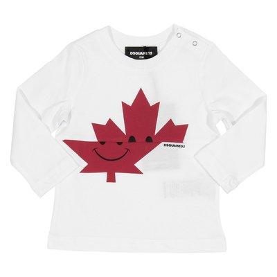 T-shirt bianca Maple Leaf in jersey di cotone