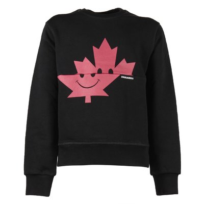Black Maple Leaf cotton sweatshirt