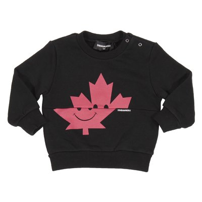 Felpa nera Maple Leaf in cotone