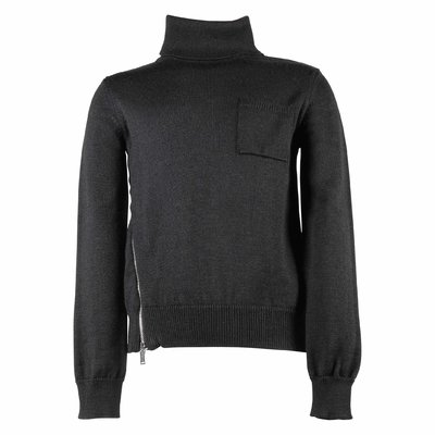Pullover nero in maglia misto lana con zip asimmetrica