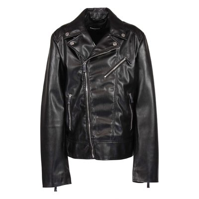 Black logo faux leather jacket