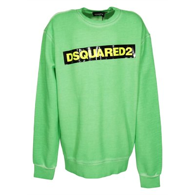 Fluorescent green logo detail cotton sweatshirt
