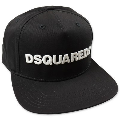 DSQUARED2 black logo detail cotton canvas baseball cap