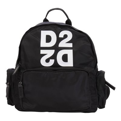 DSQUARED2 black logo detail nylon backpack