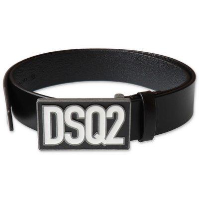DSQUARED2 cintura nera in pelle con logo