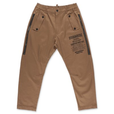 DSQUARED2 light brown cotton gabardine pants