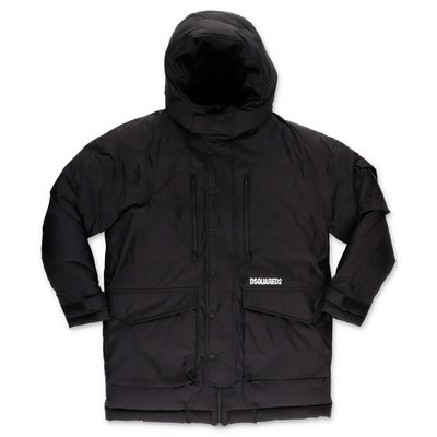 DSQUARED2 black nylon down jacket with hood