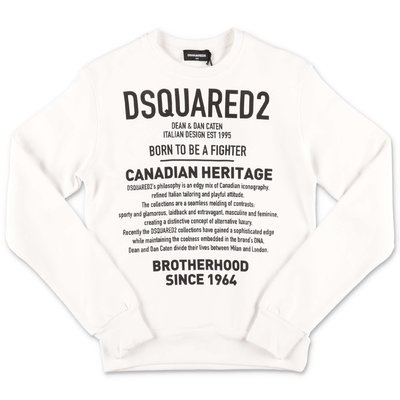 DSQUARED2 white logo detail cotton sweatshirt
