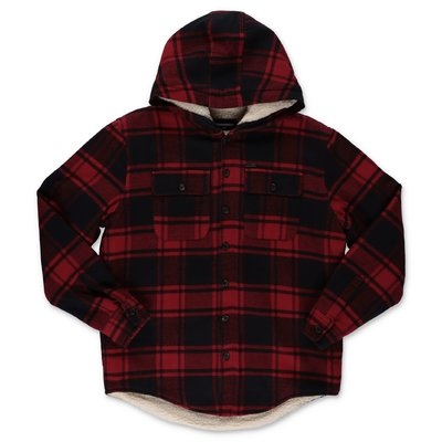 DSQUARED2 red & black tartan cotton jacket with hood