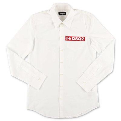 DSQUARED2 camicia bianca in popeline di cotone