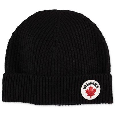 DSQUARED2 berretto nero in maglia di lana e cotone