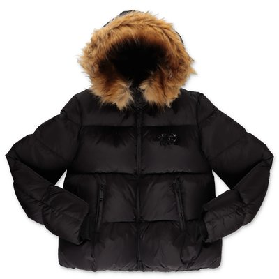DSQUARE2 black nylon down jacket with hood