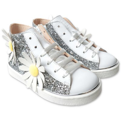 Florens glittered leather sneakers with laces