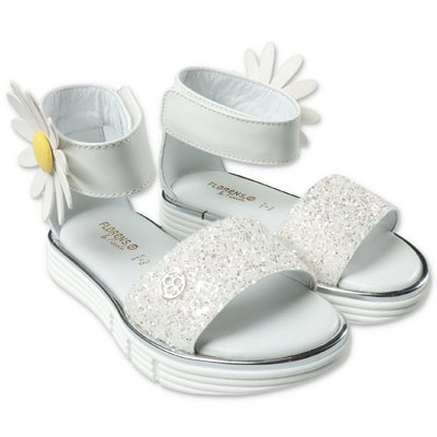 FLORENS white leather sandals with velcro closure