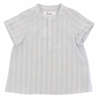 Bonpoint light blue striped cotton linen shirt