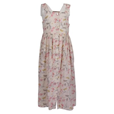 Pink flower printed cotton dress