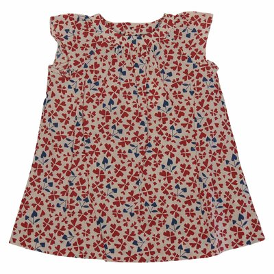 Red floral print cotton dress